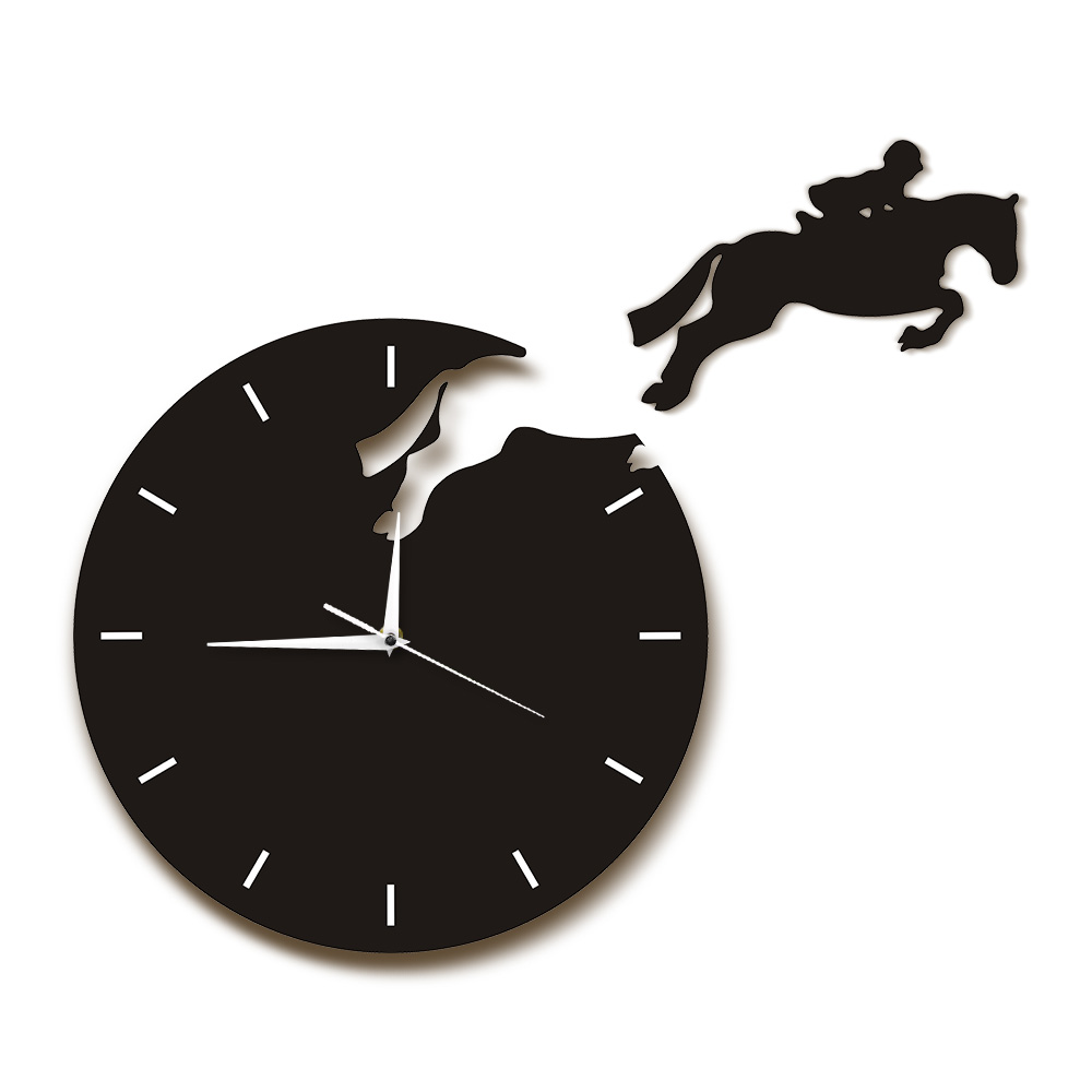 Horseriding Wall Art Horseman Jumping From The Clock Rider On Horseback Jumping Horse Wall Clock Hanging Watch Equestrienne Gift