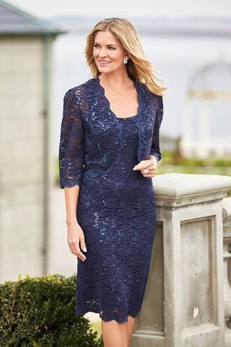c7fcd9e5e65 Navy Blue Short Knee Length Lace Mother Of The Bride Dresses Evening Wear  3 4 Sleeves Jacket Plus Size Wedding Guests Dress