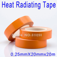Free Shipping 20mm 20m Glass Fiber Thermal Double Sided Adhesive Tape Heat Conduction Tape For Chip