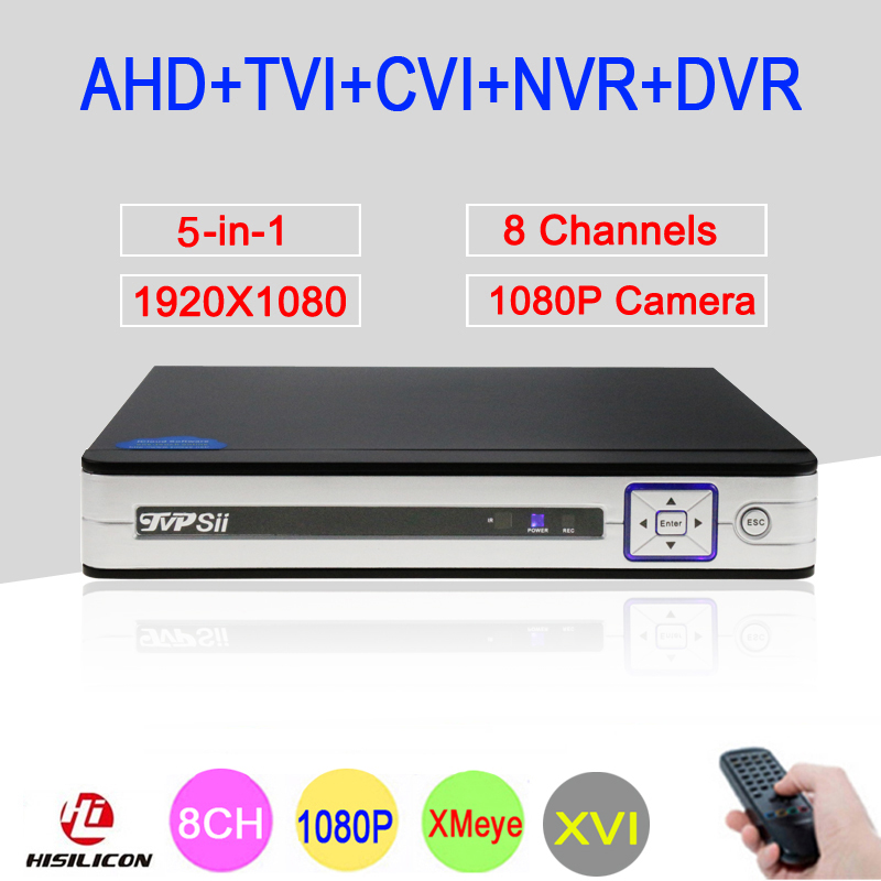 2mp CCTV Camera Silver Panel Hi3521A 8 Channel 8CH 1080P Full HD 6 in 1 Coaxial Hybrid Onvif NVR CVI TVI AHD DVR Free Shipping silver panel hi3521a 5 in 1 xmeye 4 channel 4ch 1080p 2mp 25fps realtime hybrid coaxial nvr tvi cvi ahd cctv dvr free shipping