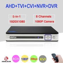 2mp CCTV Camera Silver Panel Hi3521A 8 Channel 8CH 1080P Full HD 6 in 1 Coaxial Hybrid Onvif NVR CVI TVI AHD DVR Free Shipping