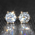 Queen Brilliance Genuine18K 750 Yellow Gold 1 Carat ct F Color Test  Positive Lab Grown Moissanite Diamond Earrings For Women