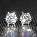 Rainha Brilho Genuine18K 750 ct Ouro Amarelo 1 Quilates Cor F Test Lab Positiva Grown Moissanite Brincos de Diamante Para As Mulheres