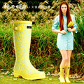 Good rain season women 's rain boots Gaotong rubber duck shoes high to help Europe and the United States women' s rubber boots