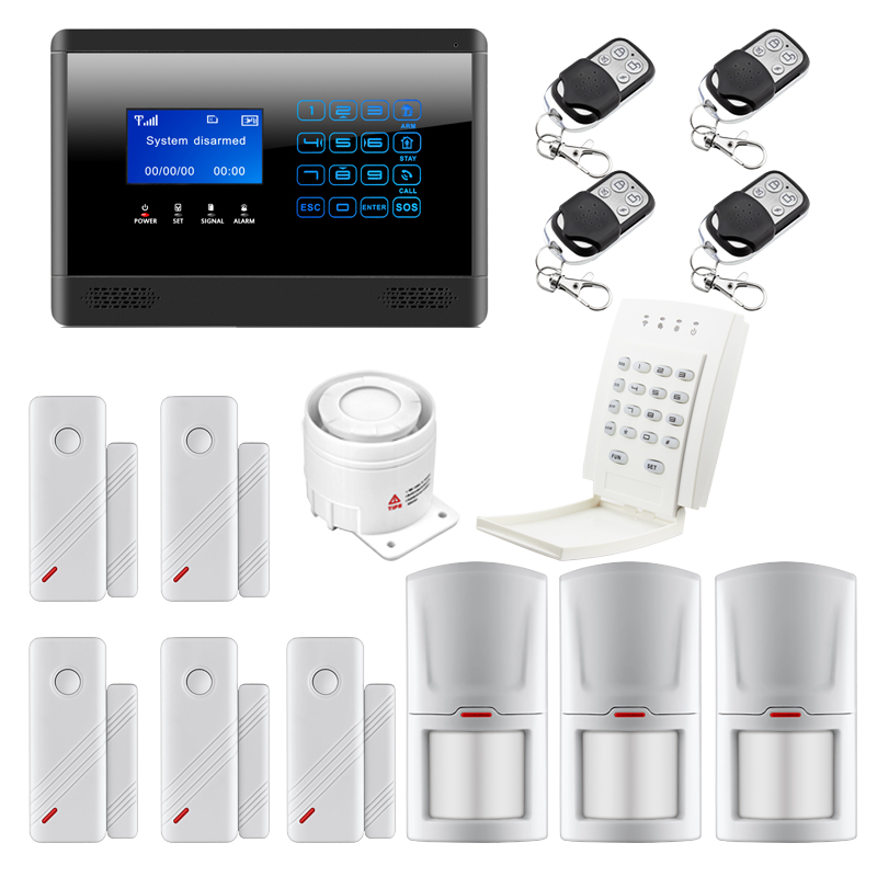 Newest Wireless& Wired GSM SMS Home House Security Inturder Alarm System sms autodial LCD display Touch Keypad 433MHz 100 wireless 4 wired lcd screen quad band support home gsm sms security alarm system