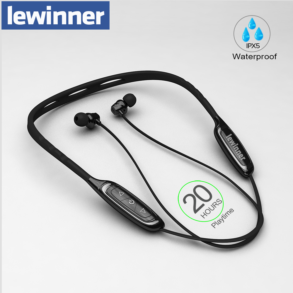 Lewinner W1 Neckband Bluetooth Earphone With Mic IPX5 Waterproof Sports Wireless Headphone Bluetooth For Phone IPhone Xiaomi