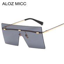 ALOZ MICC Luxury Siamese Big Sunglasses Women Brand Designe Sexy Rimless Mirror Sun Glasses Shield Shades Men Eyewear UV400 Q137