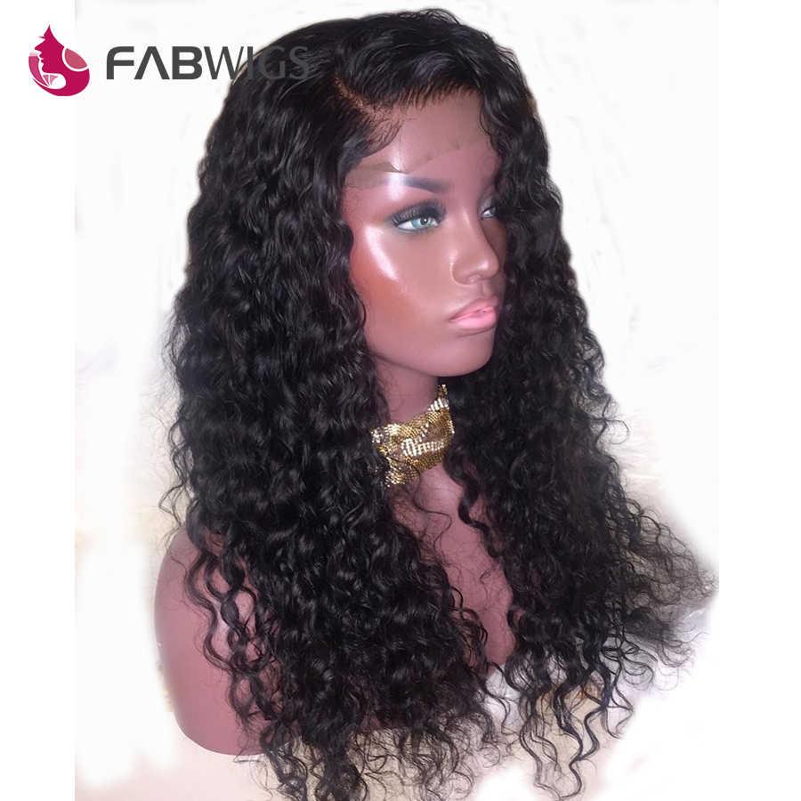 Fabwigs 13X6 глубокая Часть бразильские кудрявые кружевные передние человеческие волосы парики предварительно выщипанные волосы remy парик с детскими волосами отбеленные узлы