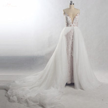 RSW815 להסרה רכבת ארוך חתונת שמלת 2 ב 1