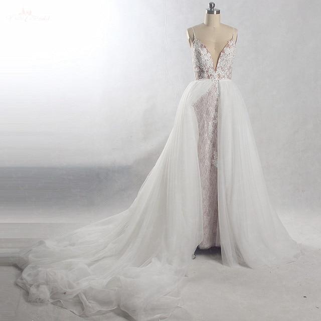 RSW815 съемное длинное свадебное платье со шлейфом 2 в 1