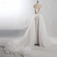 RSW815 Abnehmbare Zug Lange Hochzeit Kleid 2 In 1