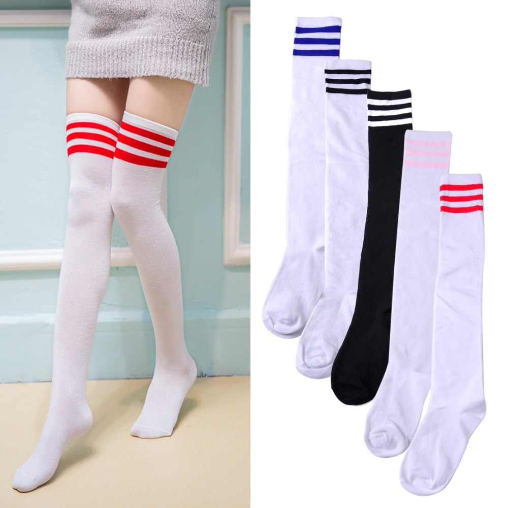 7c1d6601dc9 ciciTree Cotton Warm Women Girls Color Classic Striped Socks 3 Line Striped  Stockings Ladies Knee High