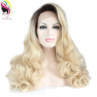 Feibin Lace Front Wigs Synthetic Hair Long Wavy Blond Color 24inches 60cm Full Head Blonde Wig