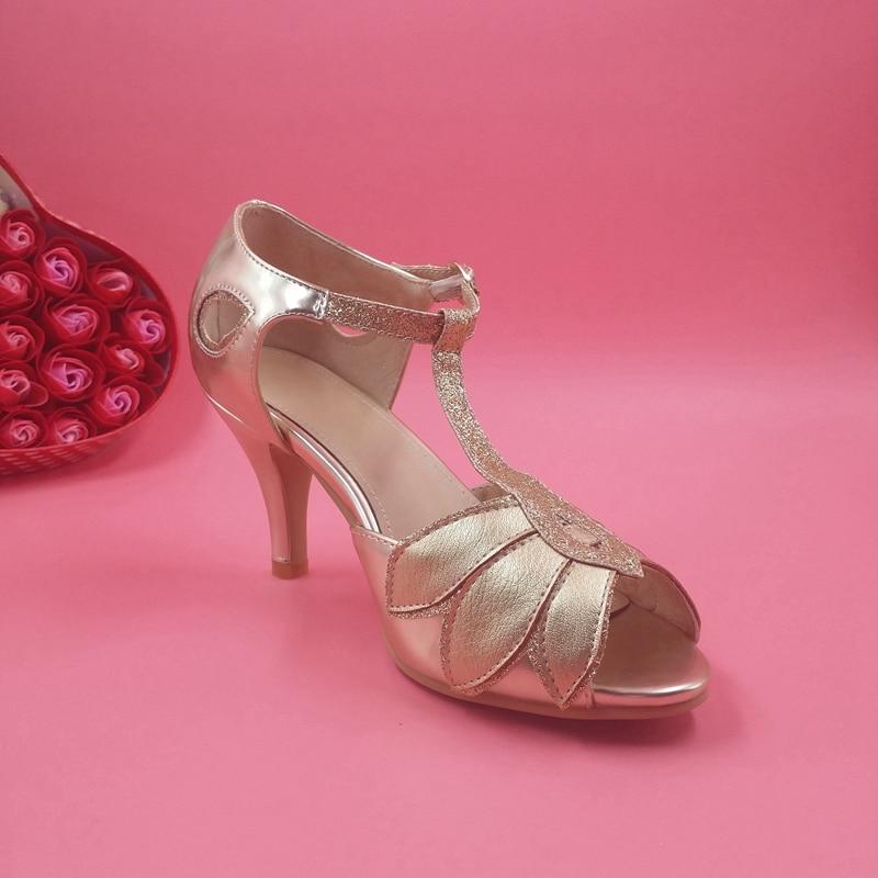 c019afa848e Elegant Gold Wedding Shoes Women Sandal Hollow Out Leaves 3.5inch Kitten  Heels T strap Covered Heel Bridal Shoes US4 US14 Sandal-in Women s Sandals  from ...