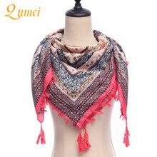 2PCS Qumei Shawl Winter Fashion Women Retro Twill Print Scarf Comfortable Cotton Fringed fringed garment accessories A16