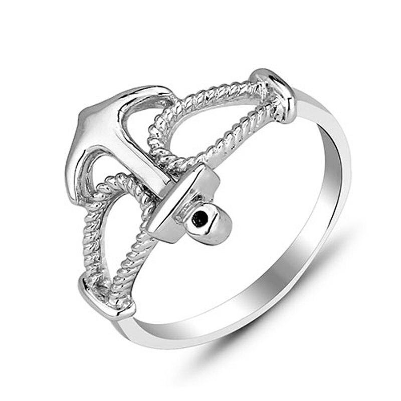 Anchor Shape Men Women Rings Silver Electroplating High Polished