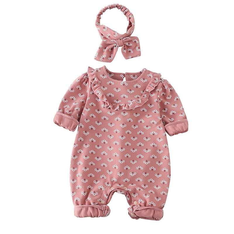 4 сумки, весна-осень, с цветочным принтом, Romoers, комплект хлопковой одежды для малышей, комбинезон + повязка на голову, 2 предмета, детские костюмы для девочек