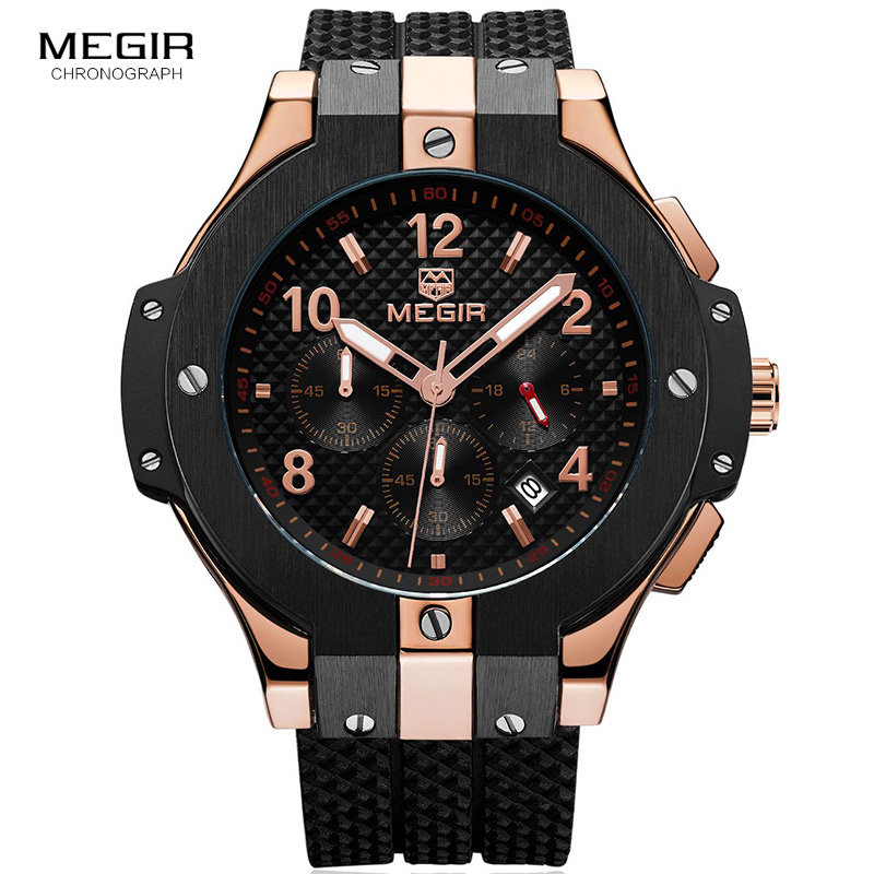 Megir Mens Chronograph Analogue Quartz Wrist Watches with Silicone Strap 24-hour Display Sports Wristwatch for Boys2050GBK-1N0
