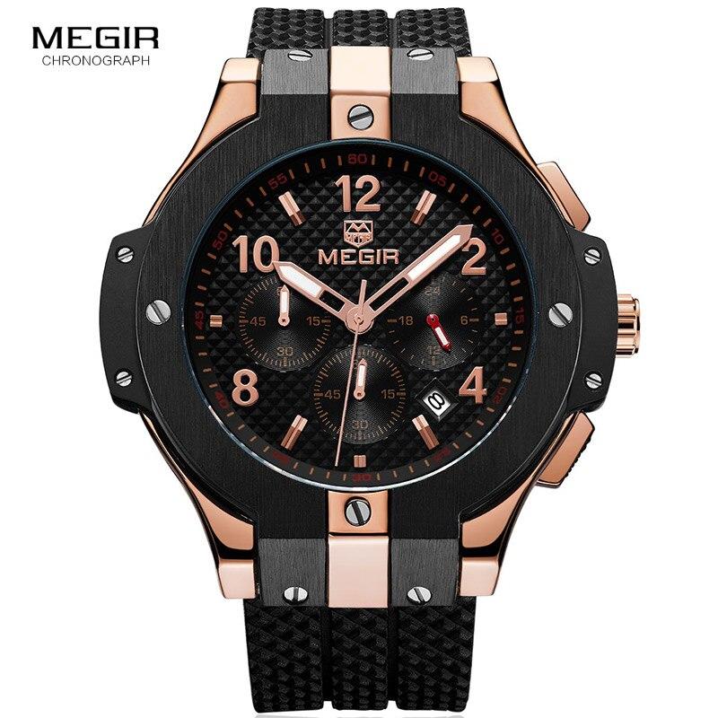 Megir Men's Chronograph Analogue Quartz Wrist Watches with Silicone Strap 24-hour Display Sports Wristwatch for Boys2050GBK-1N0
