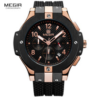 Megir Men S Chronograph Analogue Quartz Wrist Watches With Silicone Strap 24 Hour Display Sports Wristwatch