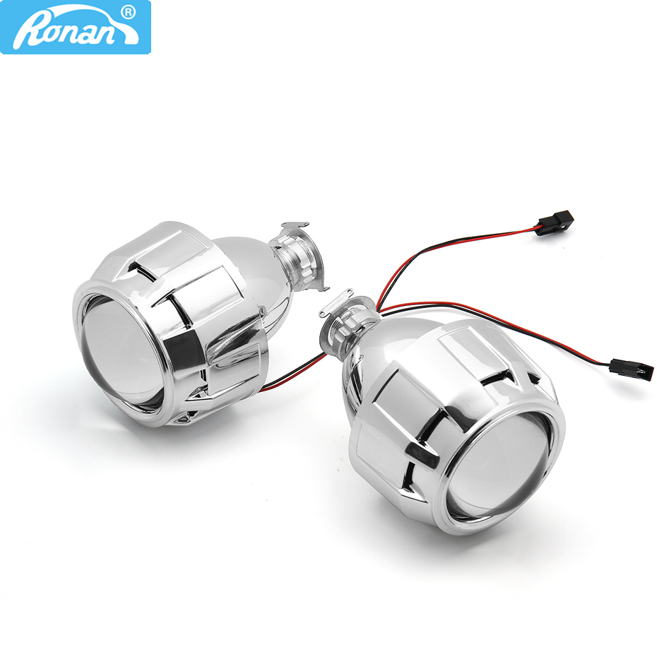 RONAN 2.5 HID Xenon Ultimate Bi proyector de xenón Lens Parking Car Styling HeadLight Lámpara de bricolaje para H1Bulb con cubiertas H4 H7 Enchufe