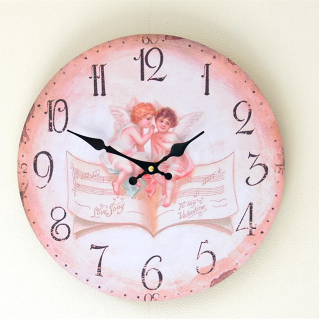 Two Little Angels Round Wooden Wall Clock Vintage Home Decor Living ...