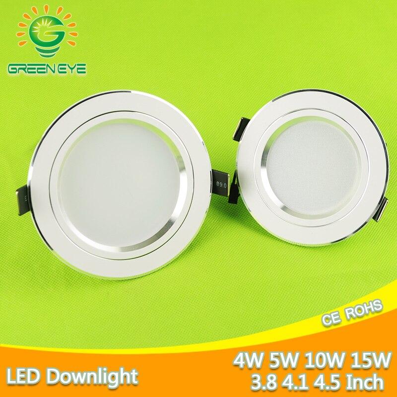 כסף לבן Downlight תקרת LED 5 w 10 w 15 w מנורת Led שקוע 110 ~ 220 v LED למטה אור ספוט אלומיניום בית תאורה פנימי אור