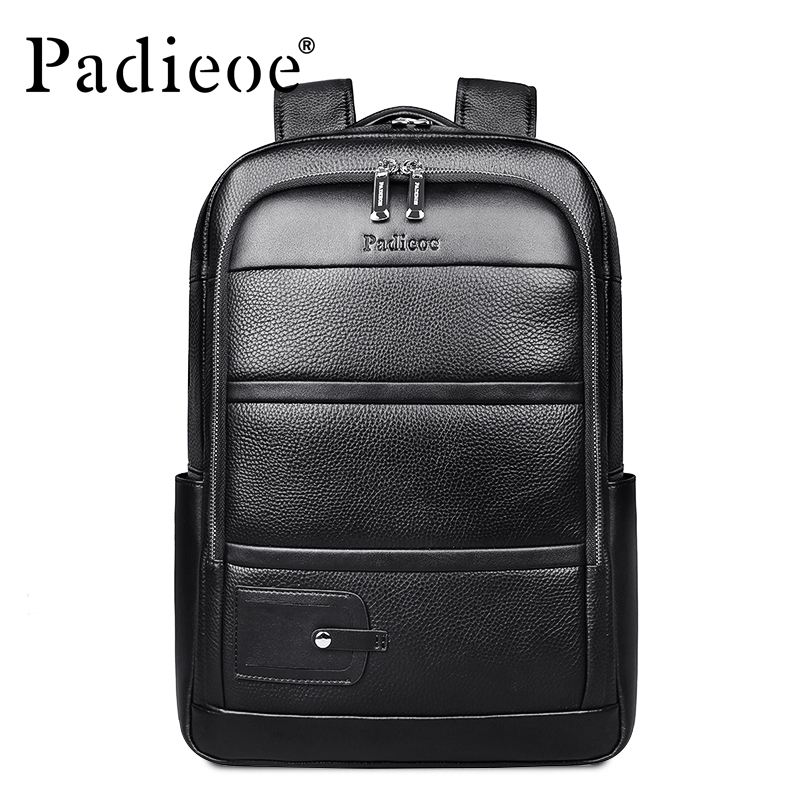 Padieoe Luxury Brand Genuine Cow Leather Unisex Backpacks High Quality Solid Color Laptop Bag Large Capacity Men's Travel Bag high quality men genuine leather backpack italian 100% cow leather unisex bag large capacity casual vintage backpacks mochila