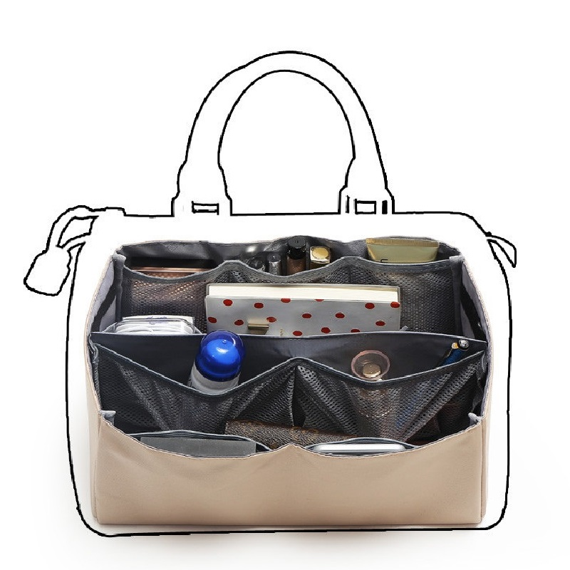 Organizer Insert Bag For Boston Tote Purse Handbag Purse Liners Removable ; Base Shaper Liner Insert With Multi Storage Pockets;