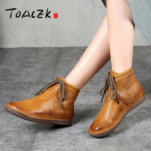 Handmade Boots For Women Ladies Ankle Shoes Flats Vintage Genuine Leather Large Size