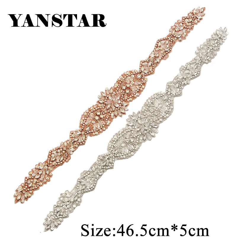 YANSTAR 1PCS Hand Bridal Rhinestone Applique Sew On For Wedding Dress Sash Rose Gold Crystal Appliques YS864