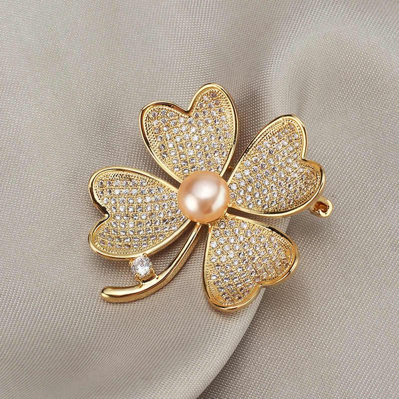 Vintage Kristal Bunga Bros untuk Wanita Fashion Alami Mutiara Bros Pin Perhiasan untuk Wanita Pernikahan Batu Syal Aksesoris