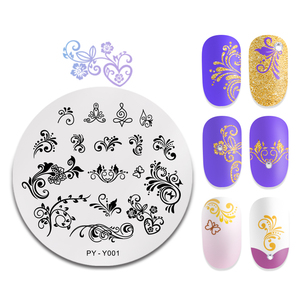 Image 5 - PICT YOU Nail Stamping Plate French Tips Printing Design Image Stamp Stainless Steel Round Shape Nail Art Templates Y001