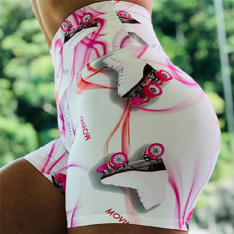 Short Leggings New Skates Print Women Sporting Fitness Leggings High Waist Workout Elastic Casual Leggings Push Up legins 2019