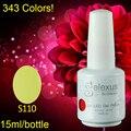 Free Shipping 12Pcs/lot 2015 New Arrival Gelexus 15ml Bottle Soak Off UV/LED Nail Gel Polish Total 343 Colors