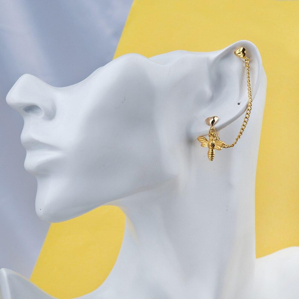 f6d4779e877f 8 estaciones doble piercing ear cadena oro color robot verde bowknot Rosa  libélula corazón Pendientes