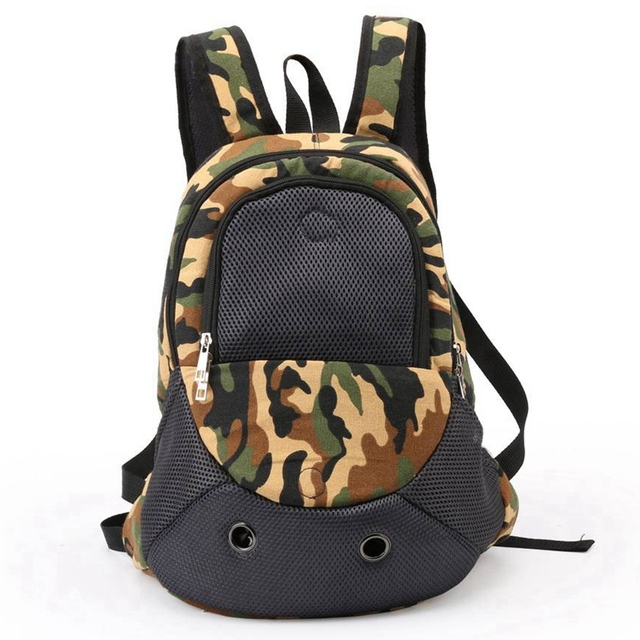 Camouflage Dog Backpack Pet Carrier Bag Fashion Cat Carry Bags Outdoors Canvas Carriers For