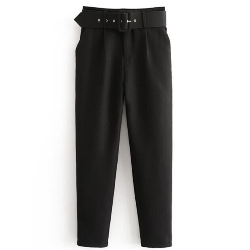 High Waist Office Lady Belted Pants Causal Black Harem Pants With Sashes Elegant Lady Trousers