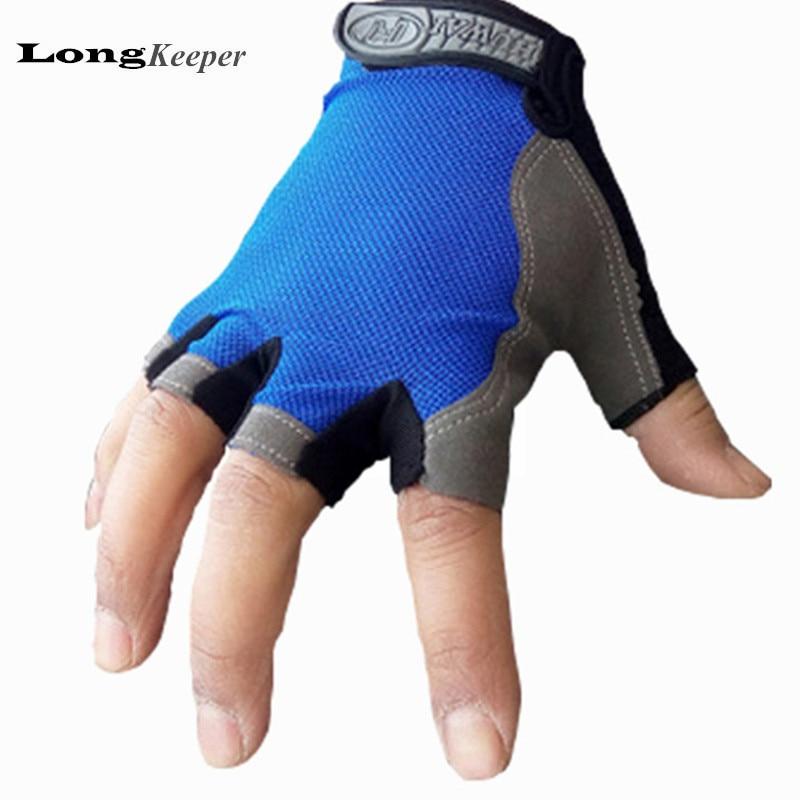 இDeporte de la manera sólidos guantes de medio dedo guantes sin ...