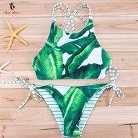 Ariel Sarah Brand 2017 Green Bikini Swimsuit High Neck Swimwear Women Bandage Swimming Suit Leaf Bikinis