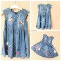 5 шт. / lot девочки-младенцы милый принцесса платье дети деним комикс принт платье дети в лето одежда