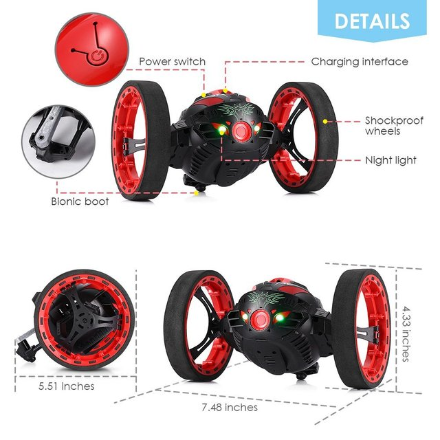 Remote Control Bouncer 2.4G RC Car Drone Jump High Bouncewith Flexible Wheels LED Light Music Automatic balancing Uprightwalking