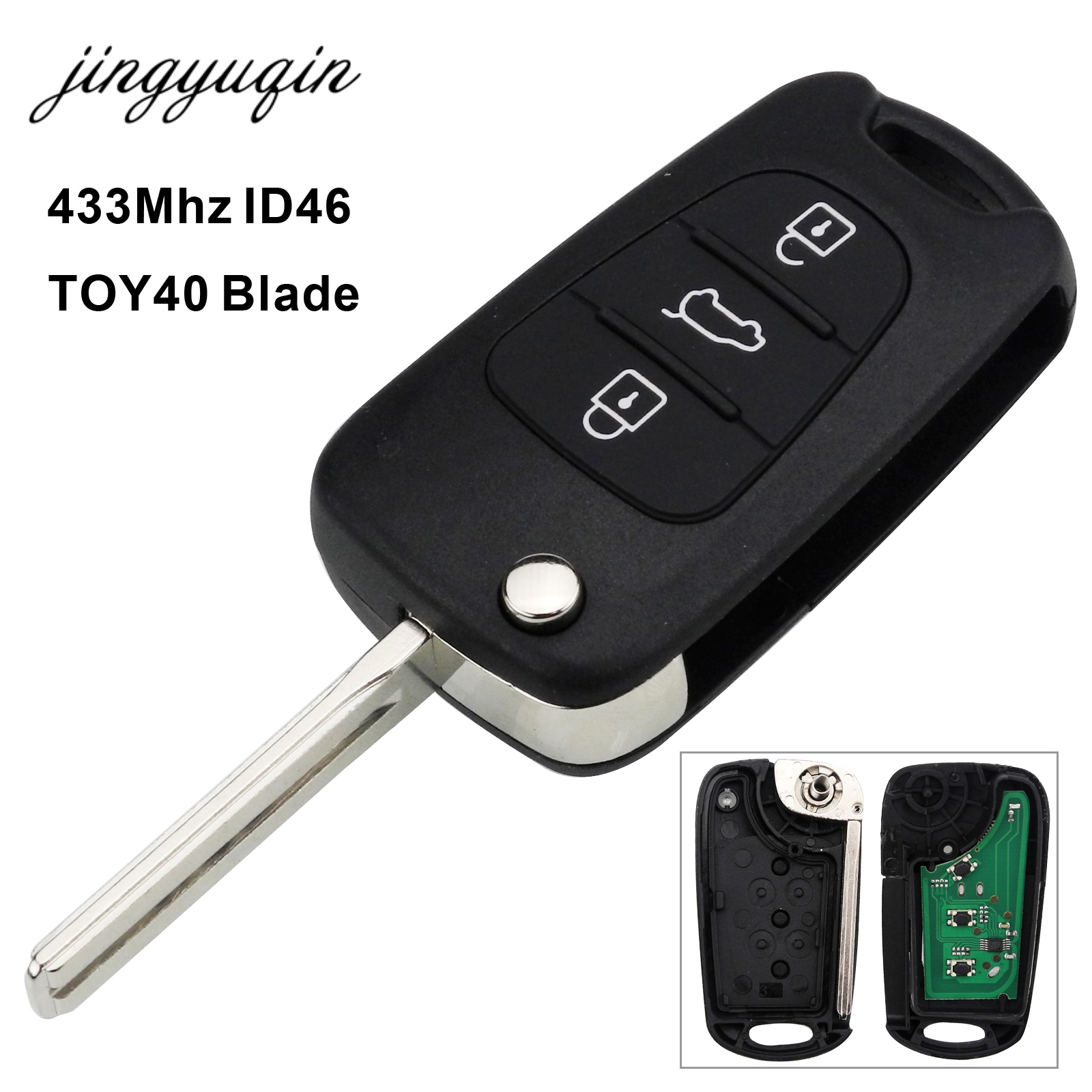 jingyuqin 433MHz Chip ID46 Remote Key Fob Fit For Hyundai I30 IX35 TOY40 Blade Replacement Folding Flip 3 Buttons Car Key maizhi 3 button flip folding car key shell for hyundai avante i30 ix35 kia k2 k5 sorento sportage key cover case styling