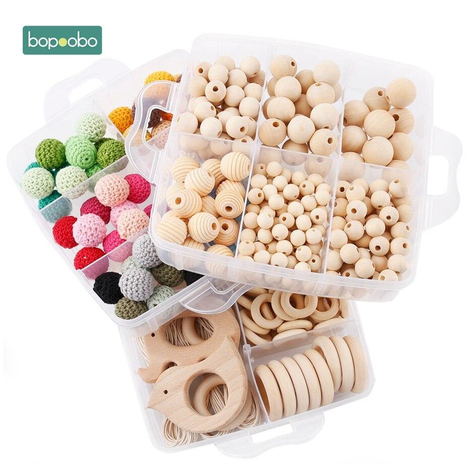 Набор детских погремушек Bopoobo, 1 набор, набор украшений «сделай сам», вязаные крючком шарики, Детские растушевки, бусины из натурального дере