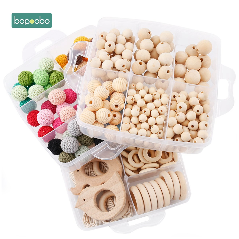 Bopoobo 1set Baby Rattle DIY Jewelry Set Crochet Beads Baby Blending Natural Wooden Beads Silicone Round Geometry Wooden Teether