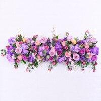Rose Gydragea artificial fllower row for DIY wedding Decoration arch platform T station Xmas background flower wall window decor
