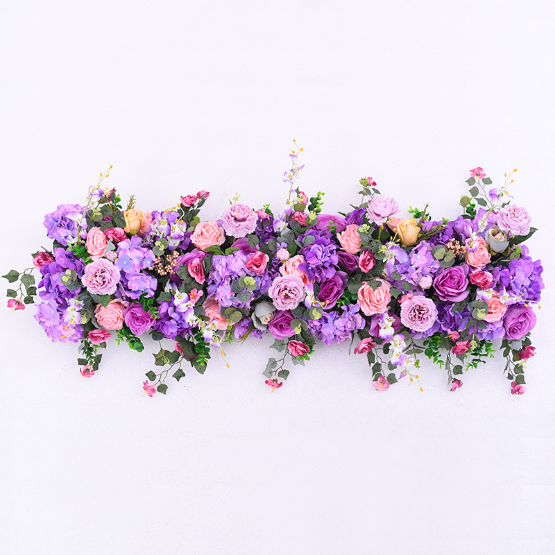 Rose Gydragea artificial <font><b>fllower</b></font> row for DIY wedding Decoration arch platform T station Xmas background flower wall window decor image