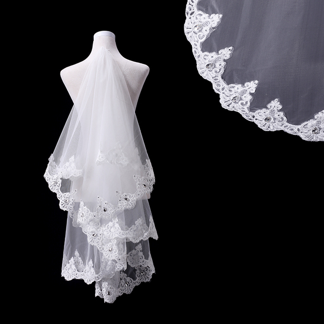 New Highest Quality 1.5 meter One Layer Applique Edge Crystal Wedding Veil with free comb Bridal Veil Lace Veil