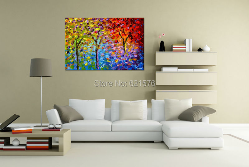 Big Hand Painted Modern Living Room Home Decor Abstract Wall Art Picture  Thick Palette Colourful Tree Oil Painting On Canvas Art In Painting U0026  Calligraphy ...