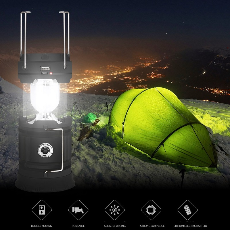 Collapsible Portable Solar Power Multi-purpose Camping Lantern Lights 18650 Rechargeable USB Outdoor Flashlights Tent Light Lamp